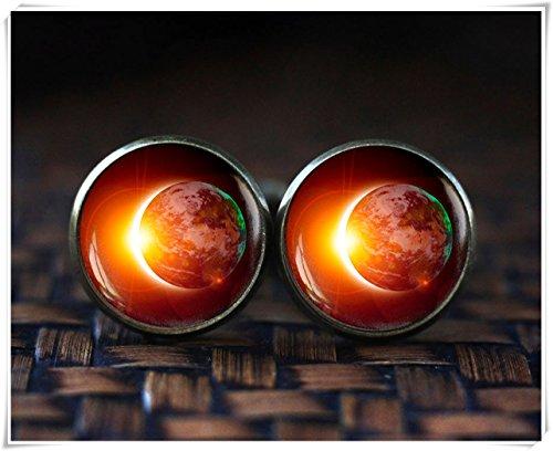 Solar Eclipse Boutons de manchette, boutons de manchette Space Galaxy, Terre Outer Space Boutons de manchette