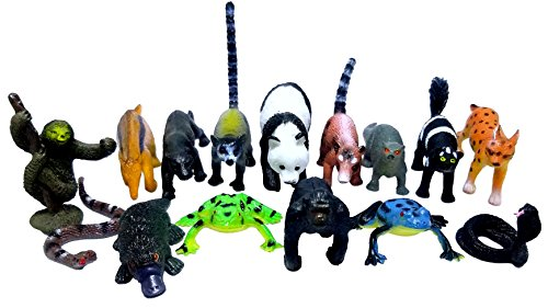Mini Safari Jungle Rain forest Animals Play Set, Assorted Creatures, 30 ct (2 sets of 15)- Kids Miniature Party Favors, Bag Stuffer, Pinata Filler, Gift, Prize, Educational Counting & Sensory Toys