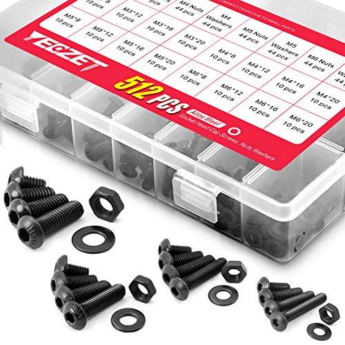 YEEZET M3 M4 M5 M6 Schrauben Set 512PCS Kohlenstoffstahl-Sechskopf-Knopf Schrauben Muttern und Unterlegscheiben Sortiment Kit (Schwarz)