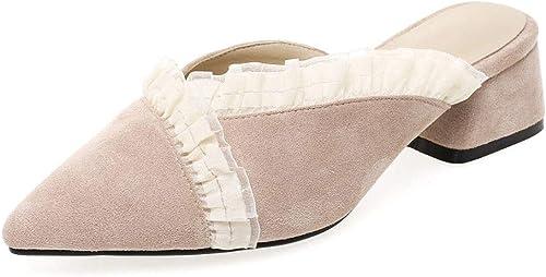Sandales Sandales Sandales Mode pour Les Les dames épaisse avec Talon Chaussures décontractées Baotou a souligné Chaussures paresseuses (Couleur   A, Taille   44 EU) 5a5