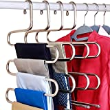 DOIOWN Pants Hangers Space Saving Hangers Closet Hanger Organizer Clothes Hangers Closet Storage Organizer for Pants Jeans Scarf (6 Pack)