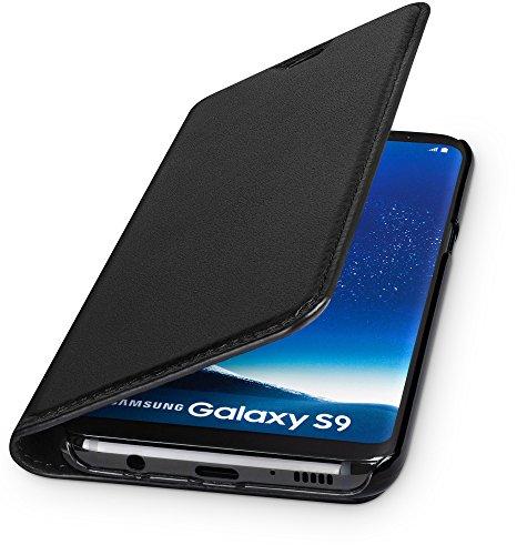 WIIUKA Echt Ledertasche -TRAVEL- für Samsung Galaxy S9 mit Kartenfach, extra Dünn, Tasche Schwarz, Leder Hülle kompatibel mit Samsung Galaxy S9