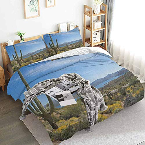 Aishare Store Saguaro Duvet Cover Set,Big Cactus on The Valley Over Bartlett Lake in Desert Shallow Root Nature Image,Decorative 3 Piece Bedding Set with 2 Pillow Shams,King(104'x90') Blue Green