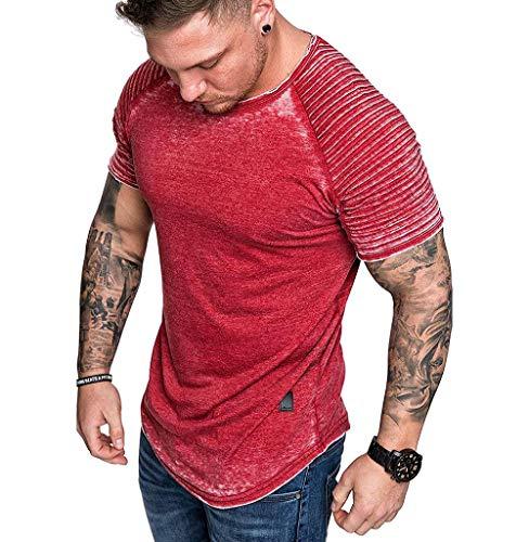 Tomatoa Herren Kurzarmshirt Top Vintage T-Shirt O-Ausschnitt Shirt Sommer Oversize Kurzarm Slim Fit Freizeithemd Longshirt M - XXXL