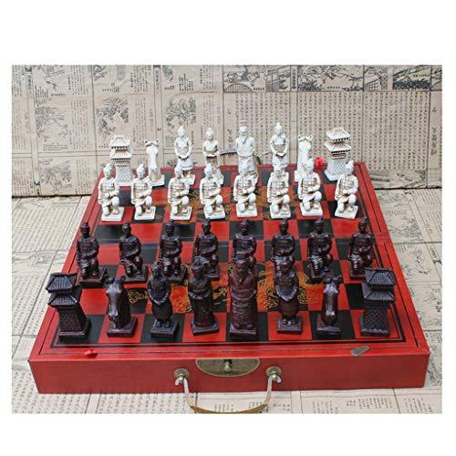 SBDLXY Ajedrez Tablero de Densidad Plegable Juego de ajedrez Retro Clásico Chino Terracota Guerreros Personajes de Resina Piezas de ajedrez Regalo de cumpleaños Juego de ajedrez (Tamaño: 44 * 41 cm