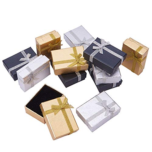 PandaHall Elite 12 Pcs 2.7x 2x1 Inch Cardboard Paper Jewelry Boxes Gift Cases with Ribbon Bowknot for Earring Jewelry Rings Pendant Necklaces Bracelet Packaging Box, Golden/Silver/Black