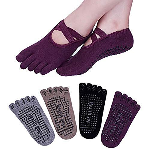 Win.Deeper 4 Pares Calcetines de Yoga Antideslizante Gimnasio Fitness Pilates Ballet Danza Deportes Calcetines para Mujer (Estilo 1)