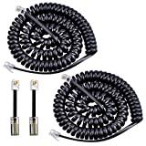 IRISVO Telephone Cord, Landline Phone Cord Tangle Free 13Ft Uncoiled / 2Ft Coiled Phone Cable (2 x Handset Cord+2 x Detangler)