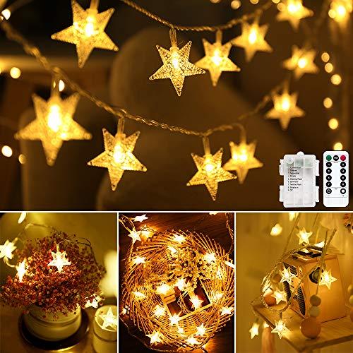 Lichterkette LED Lichterkette Sterne Batterie 6M 40LED Sterne Warmweiß Lichterkette mit Fernbedienung 8 Modi Wasserdicht Außen Innen Weihnachten Lichterketten für Zimmer Party Garten DIY Deko Metaku