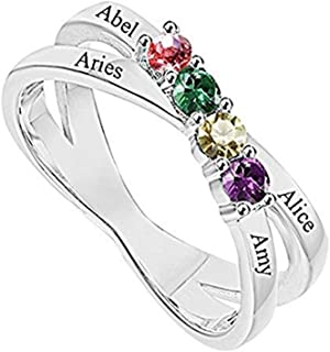 Design Your Mothers Rings with Children Simulated Birthstones Names Family Ring