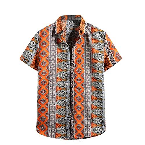 Camicetta Top Uomo Estate Moda Casual Camicia a Fiori Hawaiana T-Shirt Manica Corta (XL,110arancia)