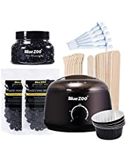 Festnight Blue ZOO 7-in-1 Hair Removal Depilatory Set Wax Bean Warmer Heater Machine with Hard Wax Beans & Hair Removal Stick & Melting Wax Bowls