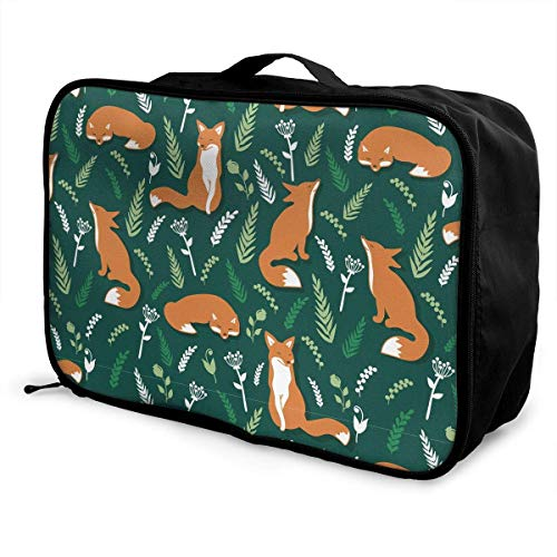 Qurbet Reisetaschen,Reisetasche, Foxes and Flowers Pattern Overnight Carry On Luggage Waterproof Fashion Travel Bag Lightweight Suitcases