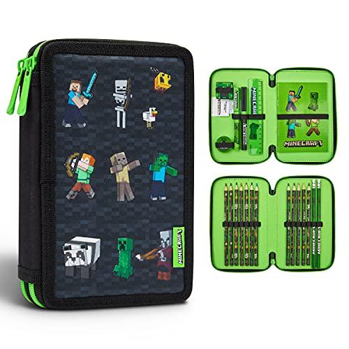 Minecraft Estuche Escolar, Material Escolar, Estuches Escolares con 2 Compartimentos, Regalos Cumpleaños Niños Colegio