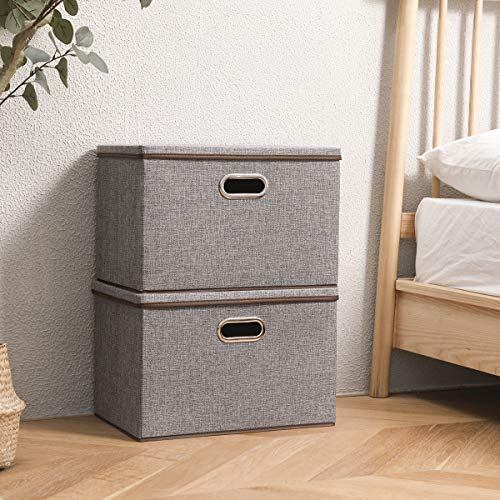 Large Linen Fabric Foldable Storage Container 2-Pack with Removable Lid and HandlesStorage bin box cubes Organizer - Gray For Home Office Nursery Closet Bedroom Living Room