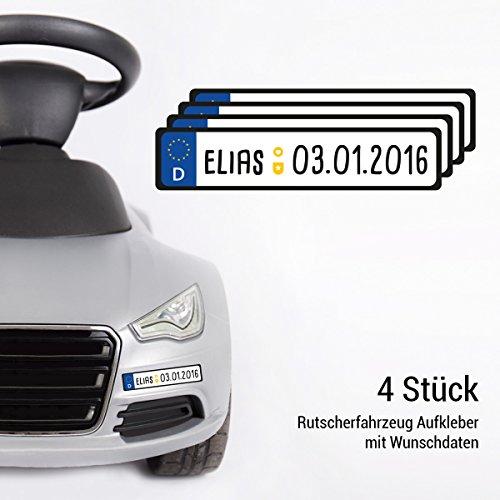 Motoking Kennzeichen im 4er Set - Mit Ihrem Wunschnamen - Aufkleber für Kinderautos, Rutscher, Elektroautos - Deutschland - Größe: 13 x 2,7 cm