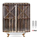 Riyidecor Wooden Barn Door Shower Curtain Panel 72x72 Inch Metal Hooks 12 Pack Farmhouse Western Country Wood Rustic Brown Fabric Polyester Waterproof Bathroom Home Decor Set