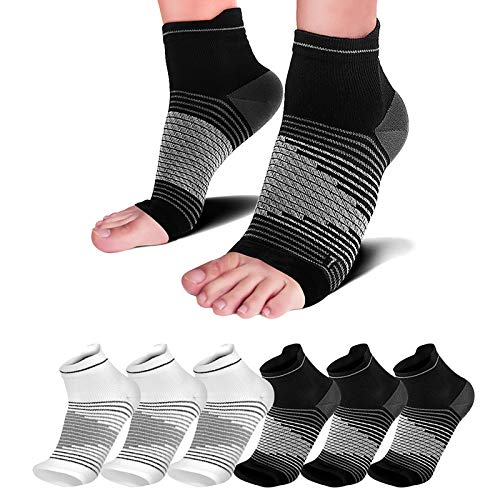 Plantar Fasciitis Compression Sleeve (6 Pairs) with Arch Foot Support for Men & Women - Best Plantar Fasciitis Night Sock for Foot and Heel Pain Relief