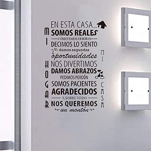 KDSMFA - Adhesivo decorativo para pared, diseño de reglas de la casa española y extraíble, diseño sencillo, 50 x 73 cm