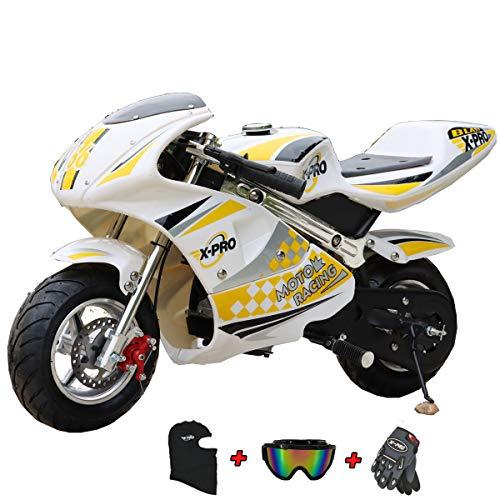 X-PRO Blast Mini Gas Pocket Bike, Mini Bike, Gas-Powered Mini Pocket Motorcycle, Perfect Mini Pocket Bike for Kids with Gloves, Googles and Face Mask(Black)