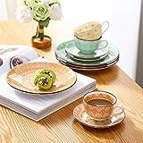 Vancasso Kaffeeservice Porzellan, Tulip 12 teilig Kaffeeset bunt für 4 Personen, Beinhaltet Kaffeetassen, Untertassen und Kuchentellern - 2