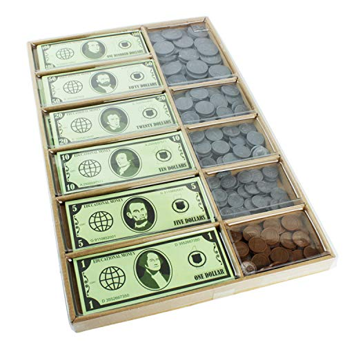 Boley Pretend Play Realistic Prop Money Set - 550 Piece Educational Fake Money Set - Teach Kids Basic Money Arithmetic Skills Through Imitation Play
