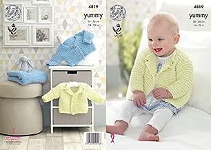 King Cole Baby Cardigans & Blanket Yummy Knitting Pattern 4819 Chunky