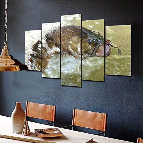 Cuadro En Lienzo Impresión De 5 Piezas Impresión Artística Imagen Gráfica Decoracion De Pared Cebo Señuelo Pesca Lubina Enmarcado