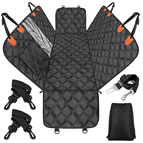 MIXJOY Dog Car Seat Cover, Dog Seat Cover with Mesh Window, Dog Hammock for Car with Storage Pocket, Car Seat Covers for Dogs...