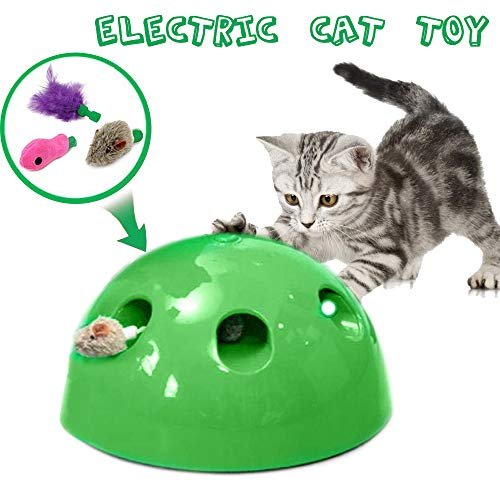 Price comparison product image Pon and Play Toy for Cats - Automatic Cat Teaser & Exerciser Kitten Training or Hunting Exercise Chaser Training Cat Toy,  Include Rotating Feather & Squeaking Mouse & Fish,  Newest Cat Teaser Toys