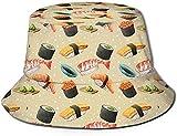 N/A NA Bucket Hat Giapponese Sushi Sun Fisherman cap Outdoor Cappello Protezione UV Cappello Pieghevole Leggero Traspirante Viaggio cap Nero