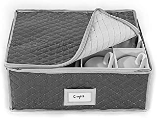 China Cup Storage Chest - Quilted Fabric Container in Gray Measuring 16