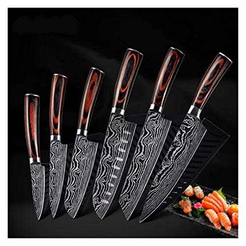 LASER DAMASCUS CLEAVER SOBRE DE 5 Juego de cuchillos de cuchillas de acero inoxidable sin paletas Incluye cuchillo de utilidad de pan de chef (Color : 6Pcs Set)