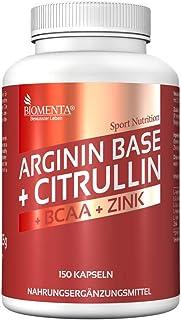 BIOMENTA L-ARGININA CITRULINA MALATO | 3.500 mg L-Arginina Base + 1.000 mg Citrulina + 1.000 mg BCAA (Aminoacidos) + Zinc | 150 Arginina Cápsulas