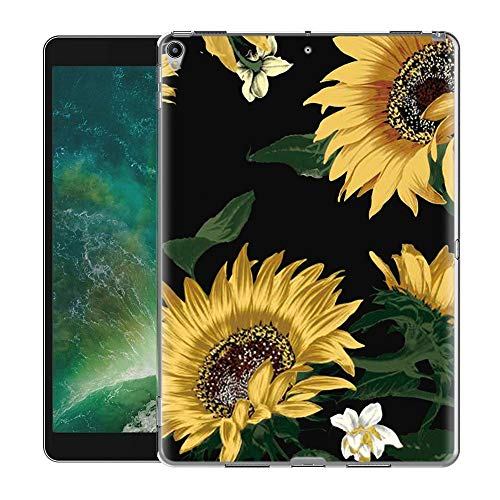 Yoedge Case Design for New ipad 10.2 2019/air 2019/pro 10.5 2017-Cover Silicone Soft Clear with Print Cute Pattern Antiurto Shockproof Back Protective Tablet Cases for New ipad 10.2 2019, Sunflower