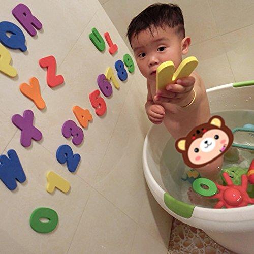 Vktech 36pcsセット ローマ字 数字 スティック 浮かび 水遊び お風呂おもちゃ 子供キッズ赤ちゃん 知育玩具 (A-Z)(0-9)子供にギフト