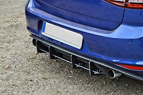 Performance Rear Bumper diffuser addon with ribs/fins For Golf 7 GTI + GTD AU 2013-2016