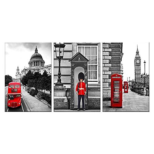 VVBGL London Street View Lienzo Pintura Poster de Big Ben Cabina de teléfono roja Soldado Bus Arte de la Pared Hogar Salon de Estar Dormitorio Decoracion de la Pared Cuadros 40x60cmx3 Sin Marco