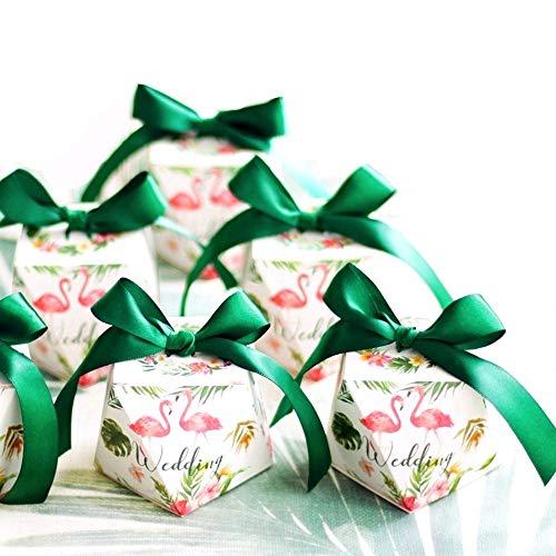 JZK 50 Forma Diamante Verde Cajas Favor Caja Caramelos Dulces Confeti Caja con Cintas para Boda Aniversario Despedida de Soltera