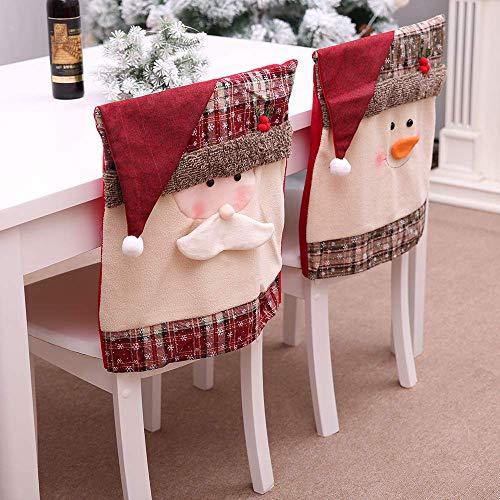 Kompassswc Weihnachtsmütze Stuhlhussen 2er/Set Weihnachten Stuhlbezüge Büeostuhl Küchenstuhl Abdeckung süß Weihnachtsmann Schneemann Stuhlüberzug für Weihnachten Party Esszimmer