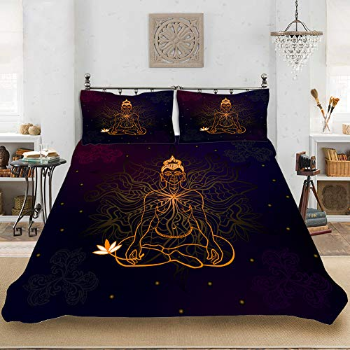 XIAXIN Bedding Duvet Cover Set,3D Buddha Pattern Duvet Cover Pillowcase 3pcs King Queen Size Polyester Double Full The Comfy Bedding Sets (A8,Queen(90'x90'))