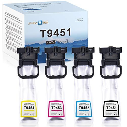 Swiss Ink kompatibel zu EPSON T9451-T9454 Tintenpatronen für EPSON Workforce WF-C5210DW WF-C5290DW WF-C5710DWF WF-C5790DWF(Schwarz/Cyan/Magenta/Gelb)