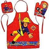 alles-meine.de GmbH 3 TLG. Set: Kinderschürze + Ofenhandschuh + Topflappen - Feuerwehrmann Sam - 3 bis 8 Jahre - Größenverstellbar - 100 % Baumwolle - fleckabweisend - Schürze / ..