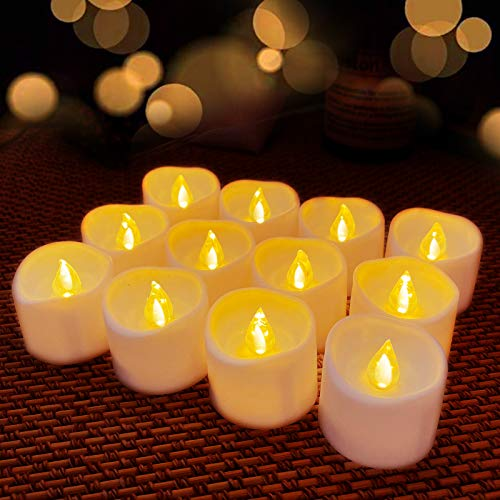 Flickering Battery Operated Flameless LED Tea Lights for Seasonal and Wedding Festival Celebration,Thanksgiving Christmas Decor, Pack of 12, Electric Fake Candles in Warm White and Wave Open