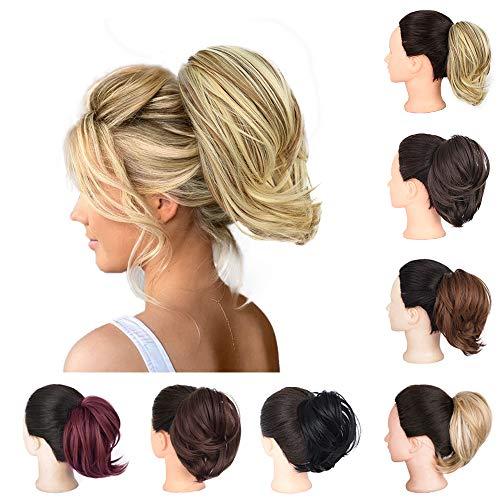 AISI BEAUTY Messy Bun Hair Scrunchie Synthetic Updo Messy Bun Hair Piece Ponytail for Women (Blonde & Medium Brown)