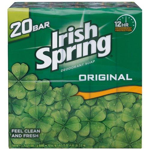 Irish Spring Original Deodorant Soap, Unisex, 3.75 oz (20 Bar)