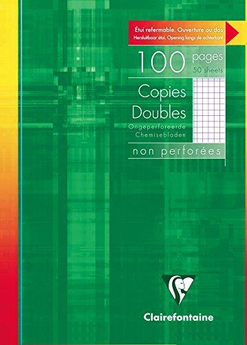 Clairefontaine 5752C - Un étui carton 100 pages Copies doubles non perforées 21x29,7cm 90g petits carreaux