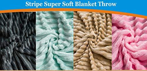 AIMS Fleece-Decke, superweich, aus Kunstfell, zottelig, mit Kristall-Fleece-Streifen, für Sofa, Couch und Bett, Polyester Fleece, anthrazit, 150 x 200cm