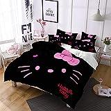 DDONVG Hello Kitty - Juego de funda de edredón (algodón, 135 x 200 cm, funda de almohada de 50 x 75 cm, 200 x 200 cm), diseño de gato