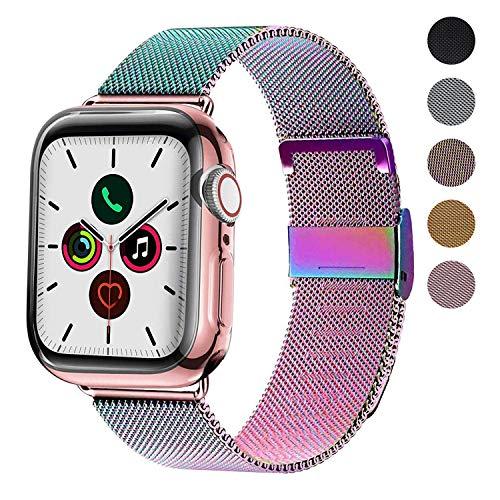 Waband Armband Kompatibel mit 42 mm 44 mm Smart Watch, Edelstahl Ersatzarmband mit Magnet, Kompatibel mit iWatch Serie 5/4/3/2/1
